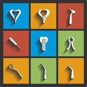 Set of Dental theme icons. Vector illustration — Stock Vector