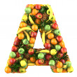 Letter - A made of fruits. Isolated on a white. — Стоковое фото