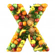 Letter - X made of fruits. Isolated on a white. — Stock Photo #42876873
