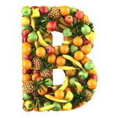 Letter - B made of fruits. Isolated on a white. — Stock fotografie