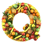 Letter - Q made of fruits. Isolated on a white. — Stock fotografie