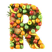 Letter - R made of fruits. Isolated on a white. — Stock fotografie