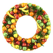 Letter - O made of fruits. Isolated on a white. — Stock Photo