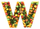 Letter - W made of fruits. Isolated on a white. — Zdjęcie stockowe