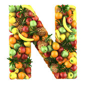 Letter - N made of fruits. Isolated on a white. — Stock Photo