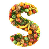 Letter - S made of fruits. Isolated on a white. — Stock fotografie