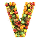 Letter - V made of fruits. Isolated on a white. — Stock Photo