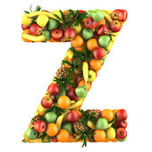 Letter - Z made of fruits. Isolated on a white. — Stock Photo