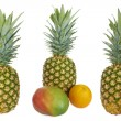 Set of Ripe pineapple, mango and orange. Isolated on white — Stock Photo