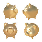 Golden piggy bank.3D illustration  — Stock Photo