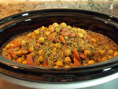 Beans in crock pot — Stock Photo