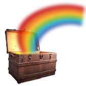 Treasure chest with rainbow — Stock Photo