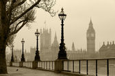London in fog, vintage photo. — Stock Photo