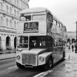 Vintage double decker bus in London - Stock Photo