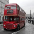 Classic Red Routemaster double decker bus - Stock Photo