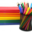 Book and pencil with markers — Stock Photo