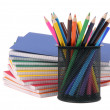 Color exercise book and pencil with markers — Stock Photo
