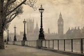 Vintage view of London, Big Ben & Houses of Parliament — Stockfoto