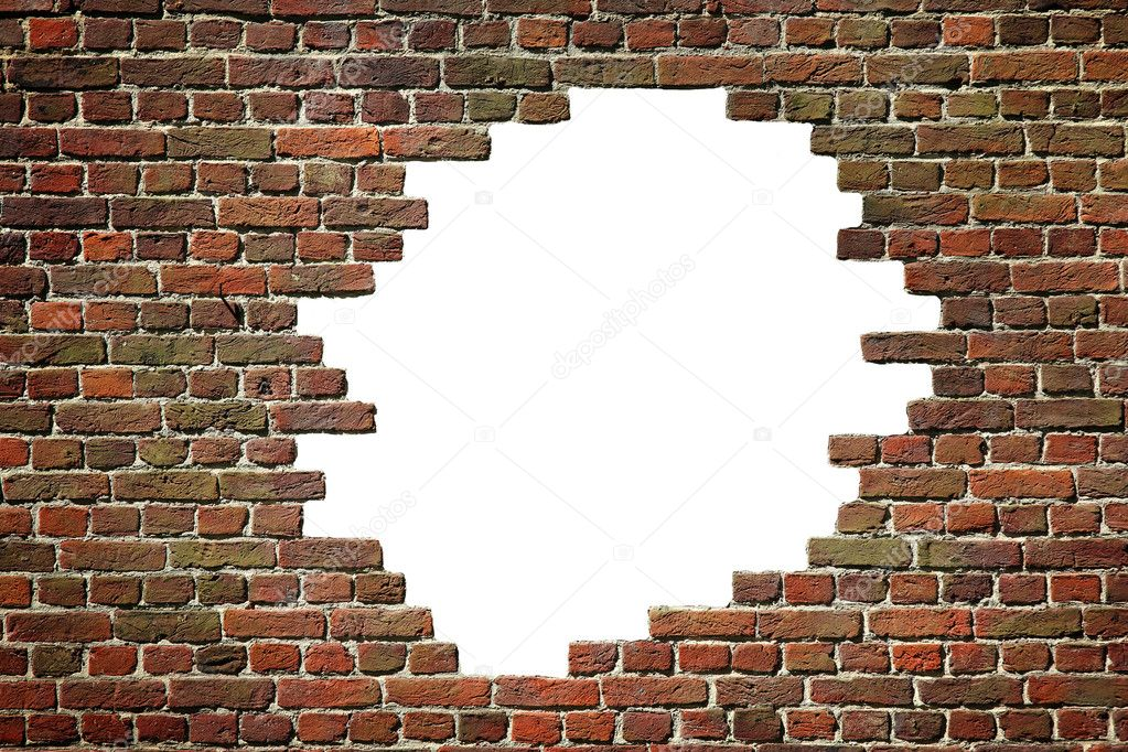 Old dark brick wall with hole — Stock Photo © tkemot #16949071