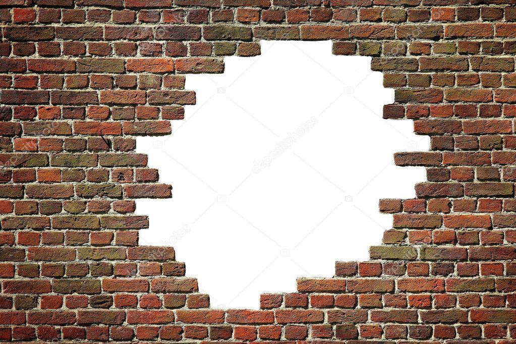 Old dark brick wall with hole — Stock Photo © tkemot #16949071