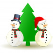 Snowman with Christmas tree, vector — Stok Vektör