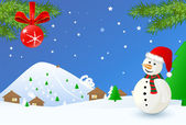 Christmas time- landscape with snowman — Stock Vector
