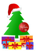 Gifts under a Christmas tree — Vector de stock