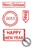 Rubber stamp series - Christmas and New Yea — Stock Vector