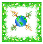 Green planet with trees — Stock Vector