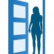 Blue opened door with woman — Stock Vector