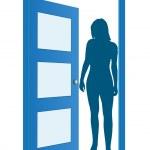 Blue opened door with woman — Stock Vector