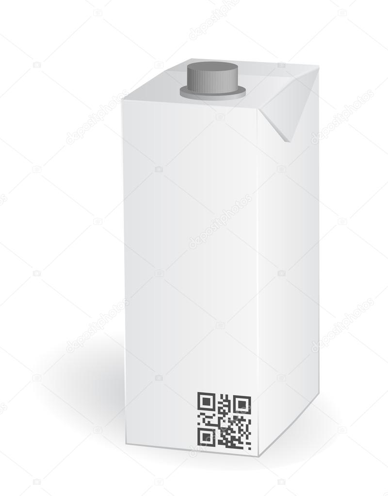 Blank milk or juice carton package with qr code , vector — Stock Vector #17612563