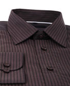 A new brown pinstriped dress shirt isolated over a white background — Stock Photo