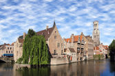 Most common view of medieval Bruges, Belgium. — Stock Photo