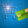 Shopping cart with a credit card, concept of internet shopping. — Stock Photo