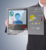 Man using digital interface to connecting video chat — Stock Photo