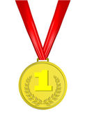 Gold medal with red ribbon — Stock Photo
