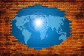 Dijital dünya kavramı grafik ile eski duvarı. — Stok fotoğraf