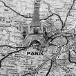 Stockfoto: Eiffel Tower on map of Paris