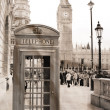 Vintage view of London, Big Ben & phone booth — Stock Photo