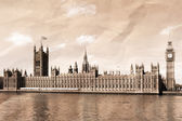 Vintage view of London, Big Ben & Houses of Parliament — Stock Photo