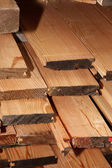 Pile of new wooden boards, a storage.  — Stock Photo