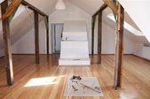 Reworking (renovation) of the old attic with a new — Stock Photo