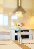 Casa interior, amplia cocina moderna, mesa de comedor — Foto de Stock