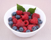 Fresh raspberries and berry on a bowl — Zdjęcie stockowe