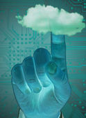 Finger touching  cloud,  — Stock Photo