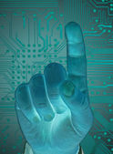 Hand with secure data by touch screen, future technology — Stock Photo