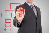 Businessman and red organization chart on a white board — Stock Photo