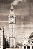 伦敦大笨钟的老式视图 — 图库照片