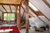 Before reworking (renovation) of the old attic — Stock Photo